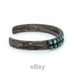 Antique Vintage Native Navajo Sterling Coin Silver Turquoise Stamp Cuff Bracelet