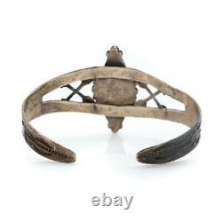 Antique Vintage Native Navajo Sterling Silver Azurite Arrow Cuff Bracelet 20.3g