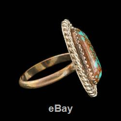 Antique Vintage Native Navajo Sterling Silver Bisbee Turquoise Rope Ring Sz 6.25