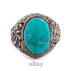 Antique Vintage Native Navajo Sterling Silver Cripple Turquoise Mens Ring S 12.5