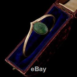Antique Vintage Native Navajo Sterling Silver Malachite Chevron Cuff Bracelet