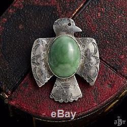 Antique Vintage Native Navajo Sterling Silver Malachite Thunderbird Brooch Pin