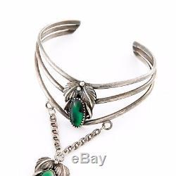 Antique Vintage Native Navajo Sterling Silver Squash Blossom Ring Slave Bracelet