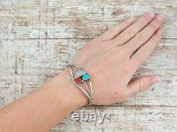 Antique Vintage Native Navajo Sterling Silver Turquoise Coral Cuff Bracelet 12g