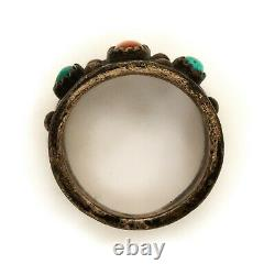 Antique Vintage Native Navajo Sterling Silver Turquoise Coral Ring Sz 9.5 10.7g
