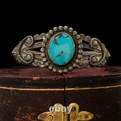 Antique Vintage Native Navajo Sterling Silver Turquoise Cuff Bracelet 22.2g