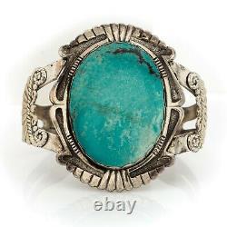 Antique Vintage Native Navajo Sterling Silver Turquoise HUGE Cuff Bracelet 53.2g