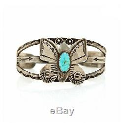 Antique Vintage Native Sterling Coin Silver Navajo Pawn Turquoise Cuff Bracelet