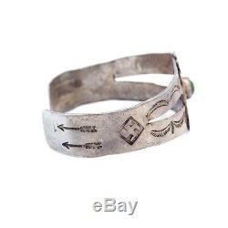 Antique Vintage Native Sterling Silver Navajo Thunderbird Rolling Log Bracelet