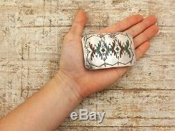 Antique Vintage Native Sterling Silver Zuni Turquoise Coral Inlay Belt Buckle