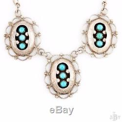 Antique Vintage Native Zuni Pawn Sterling Silver Shadowbox Turquoise Necklace