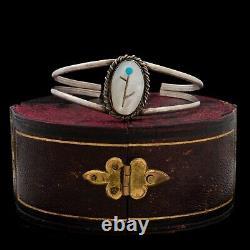 Antique Vintage Native Zuni Sterling Silver MOP Turquoise Inlay Bracelet 11.7g