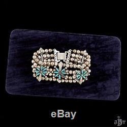 Antique Vintage Native Zuni Sterling Silver Squash Blossom Turquoise Bracelet