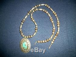 Antique Vintage Navajo Old Pawn Silver Turquoise Pendant Necklace 1930's-40's