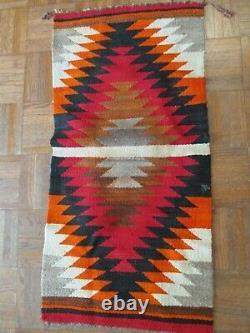 Antique Vintage Small Navajo Rug Saddle Blanket Native American Indian Art Old