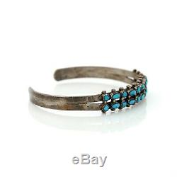 Antique Vintage Sterling Coin Silver Native Navajo Kingman Turquoise Bracelet