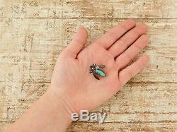 Antique Vintage Sterling Coin Silver Native Navajo Old Pawn Turquoise Pin Brooch