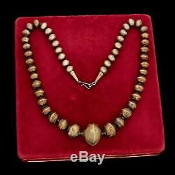 Antique Vintage Sterling Coin Silver Native Navajo Pawn Disk Pearl HUGE Necklace