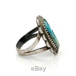 Antique Vintage Sterling Coin Silver Native Navajo Pawn Turquoise Ring Sz 5.75