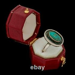 Antique Vintage Sterling Coin Silver Native Navajo Shadowbox Turquoise Ring 4.75
