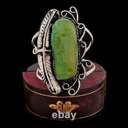 Antique Vintage Sterling Coin Silver Native Navajo Turquoise HUGE Cuff Bracelet