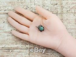 Antique Vintage Sterling Coin Silver Native Navajo Turquoise Pawn 0.95 Pendant
