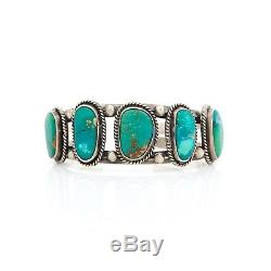 Antique Vintage Sterling Coin Silver Native Navajo Turquoise Pawn Cuff Bracelet