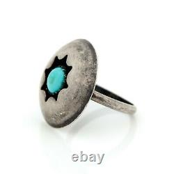 Antique Vintage Sterling Coin Silver Native Navajo Turquoise Shadowbox Ring 4.5