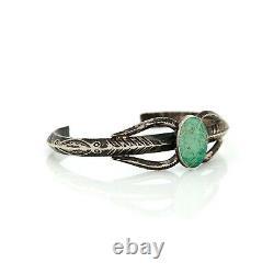 Antique Vintage Sterling Coin Silver Native Navajo Turquoise Stamped Bracelet
