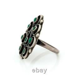Antique Vintage Sterling Coin Silver Native Zuni Turquoise Petit Point Ring 7.5