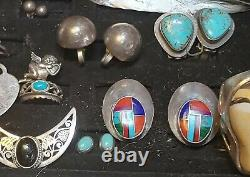 Antique/Vintage Sterling Silver Jewelry Lot, Native Turquoise, 402 Grams 40 piec