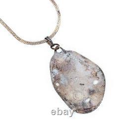 Antique Vintage Sterling Silver Native Navajo Banded Agate HUGE Necklace 31.7g