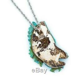 Antique Vintage Sterling Silver Native Navajo Carved Turquoise Eagle Necklace