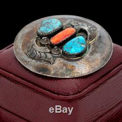 Antique Vintage Sterling Silver Native Navajo Kingman Turquoise Coral Pin Brooch