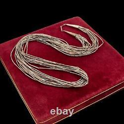Antique Vintage Sterling Silver Native Navajo Liquid Silver Bead Necklace 52g