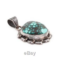 Antique Vintage Sterling Silver Native Navajo Number Eight 8 Turquoise Pendant
