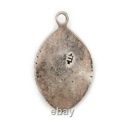 Antique Vintage Sterling Silver Native Navajo Red Coral Necklace Pendant 5.5g
