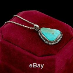 Antique Vintage Sterling Silver Native Navajo Royston Turquoise Pendant Necklace