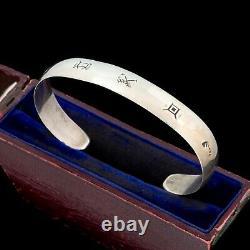 Antique Vintage Sterling Silver Native Navajo Stamped Arrow Cuff Bracelet 17.4g