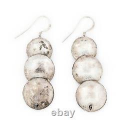 Antique Vintage Sterling Silver Native Navajo Stamped Bead Dangle Earrings 13.6g