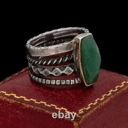 Antique Vintage Sterling Silver Native Navajo Turquoise Band Ring Sz 7.5 12.7g