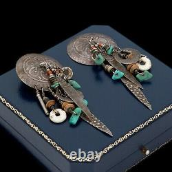 Antique Vintage Sterling Silver Native Navajo Turquoise Concho Earrings 15.8g
