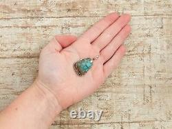 Antique Vintage Sterling Silver Native Navajo Turquoise Necklace Pendant 11.3g