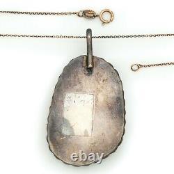 Antique Vintage Sterling Silver Native Navajo Turquoise Pendant Necklace 17.3g