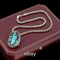 Antique Vintage Sterling Silver Native Navajo Turquoise Pendant Necklace 55.6g