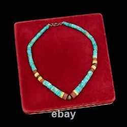 Antique Vintage Sterling Silver Native Pawn Santo Domingo Pueblo Heishi Necklace