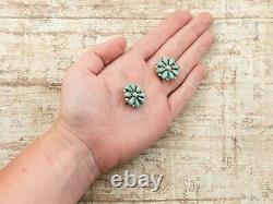 Antique Vintage Sterling Silver Native Zuni Petit Point Turquoise Earrings 7.1g