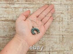 Antique Vintage Sterling Silver Native Zuni Turquoise Petit Point Necklace 5g