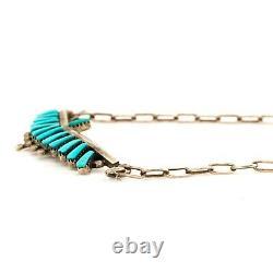Antique Vintage Sterling Silver Native Zuni Turquoise Petit Point Necklace 7.5g