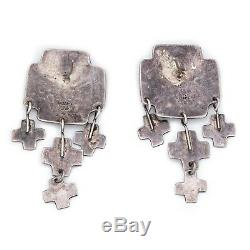 Antique Vintage Sterling Silver Southwest Mexican TAXCO Dangle Pawn Earrings